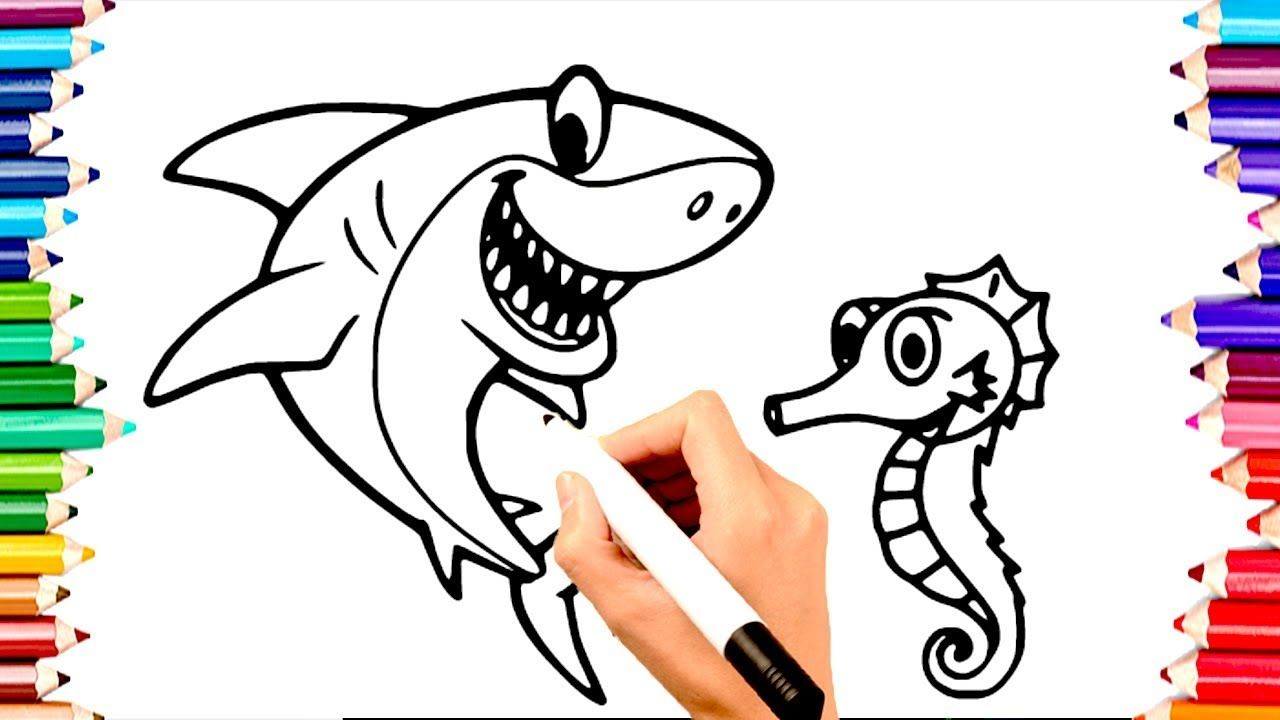 Teaching Children To Draw Shark Seahorse Coloring Book Pages