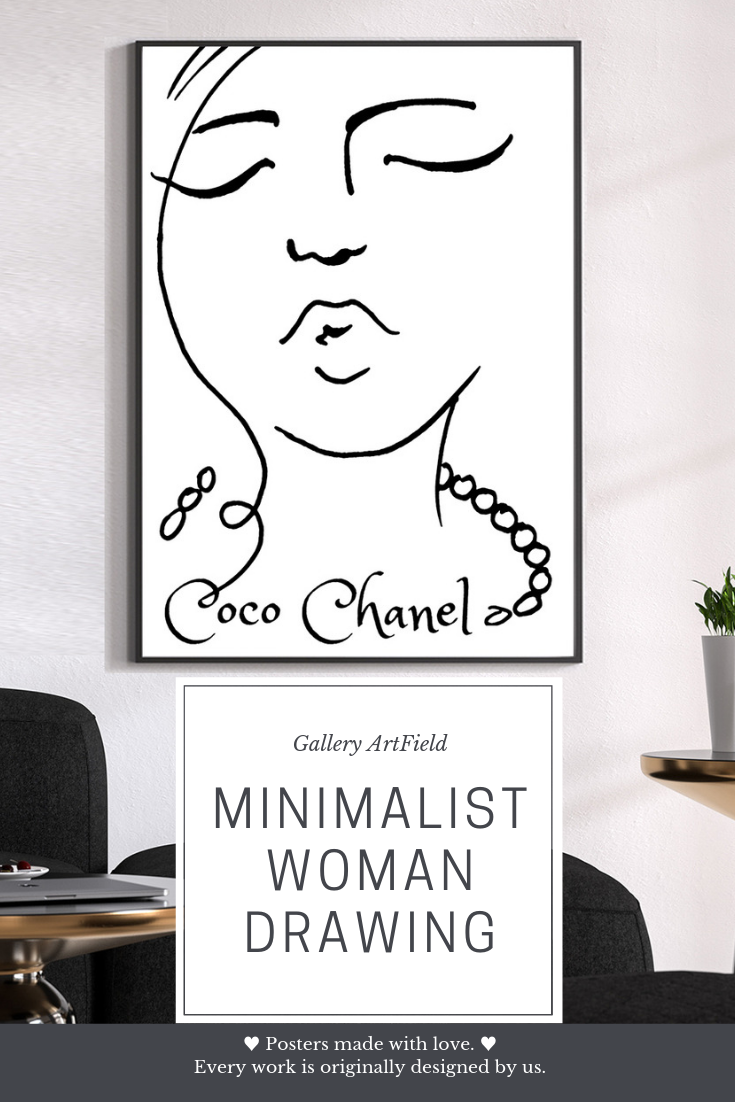 Chanel Home Decor Chanel Inspired Chanel Art Print Coco Chanel Quotes Poster Pop Art Woman Face Abstract Face Art Minimalist Faces Coco Chanel Poster Chanel Art Print Chanel Decor