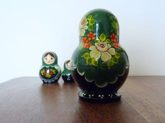 Matryoshka Russian Nesting Dolls Set of Five by muntjacvintage