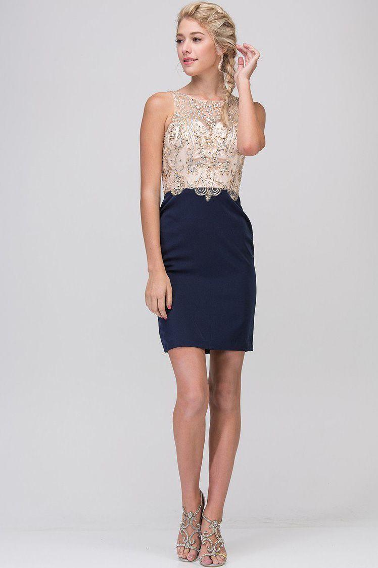 Short prom dress er short prom dress has illusion neckline and