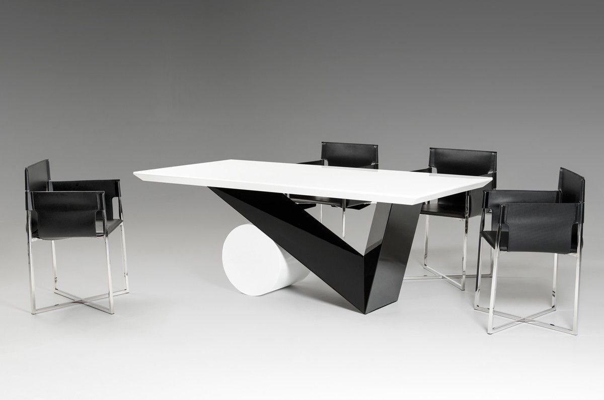 Bauhaus Modern Black And White Dining Table Black Glass Dining
