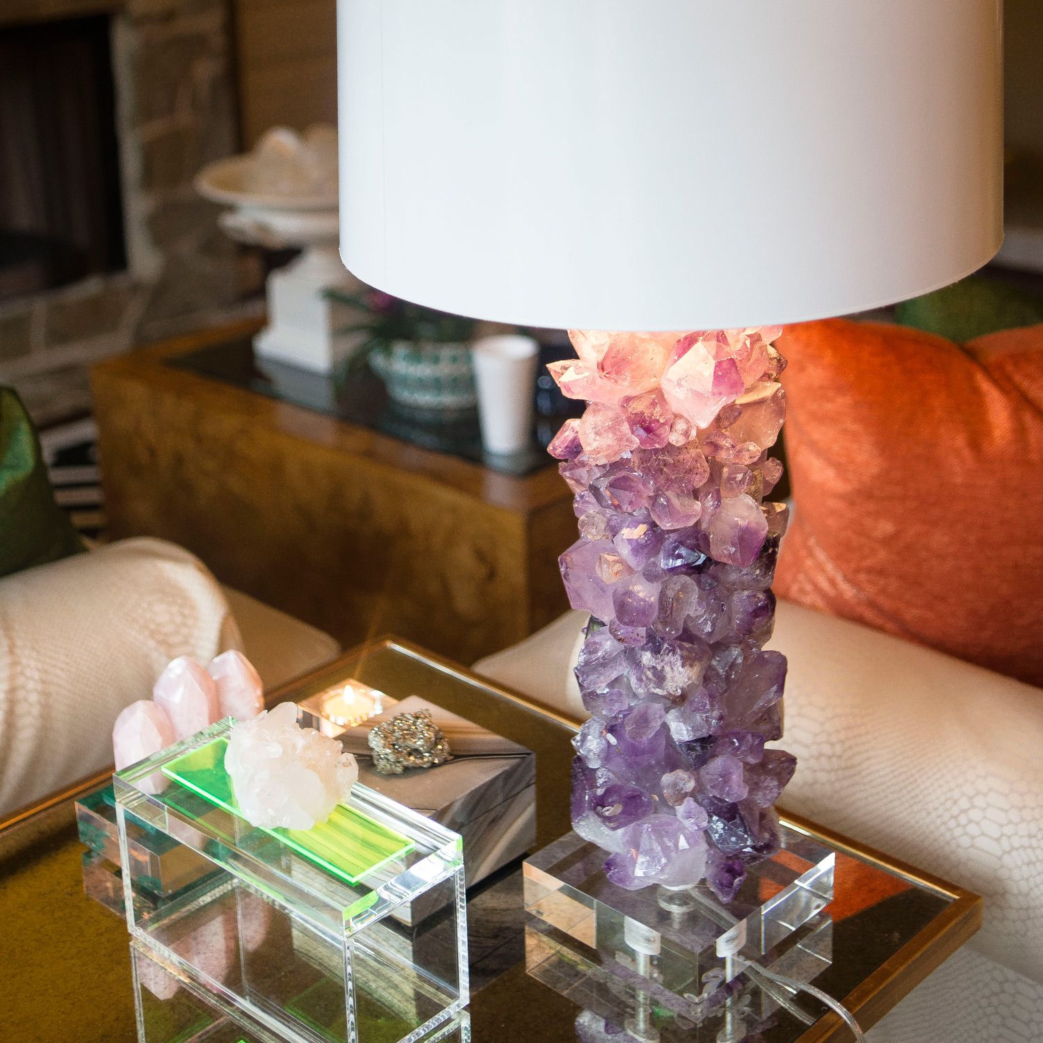 Times Two Design Amethyst Crystal Table Lamp Base Zinc Door Crystal Lamp Lamp Crystal Table Lamps