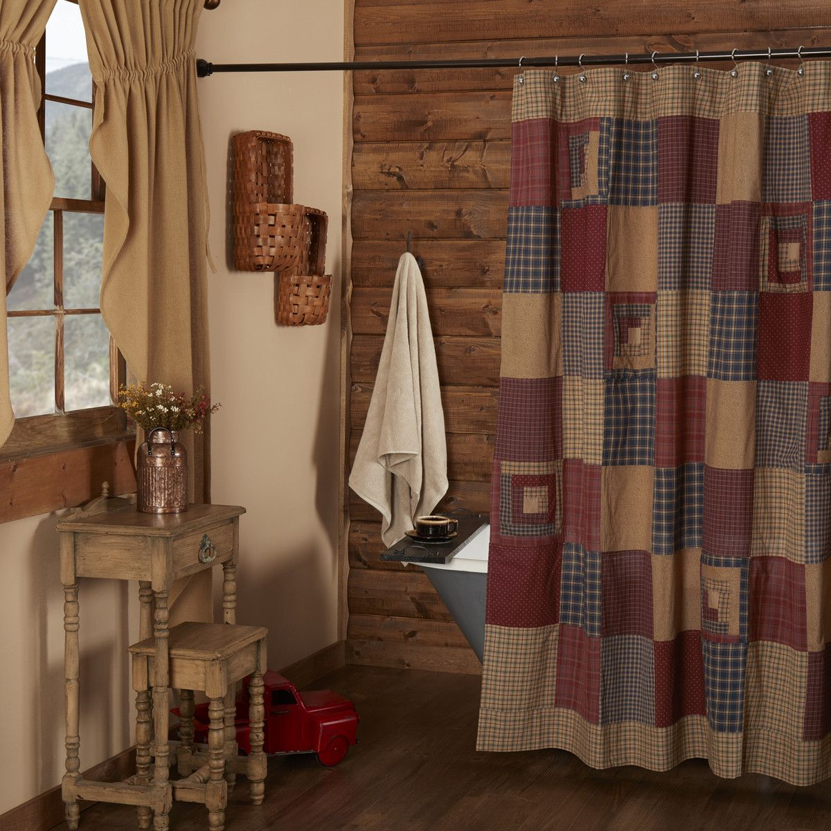 Woodlands Fabric Bathroom Shower Curtain Deer Moose Lodge Cabin