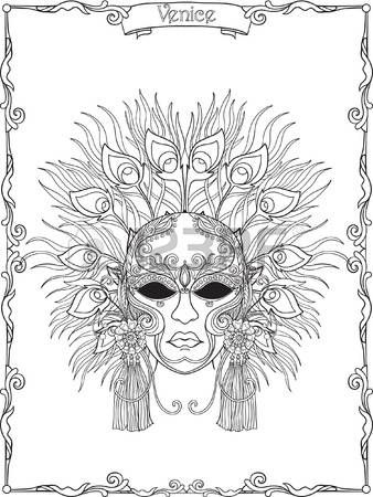 Venezianische Maske Karnevalskost m Umriss Hand zeichnen Malbuch f r ...