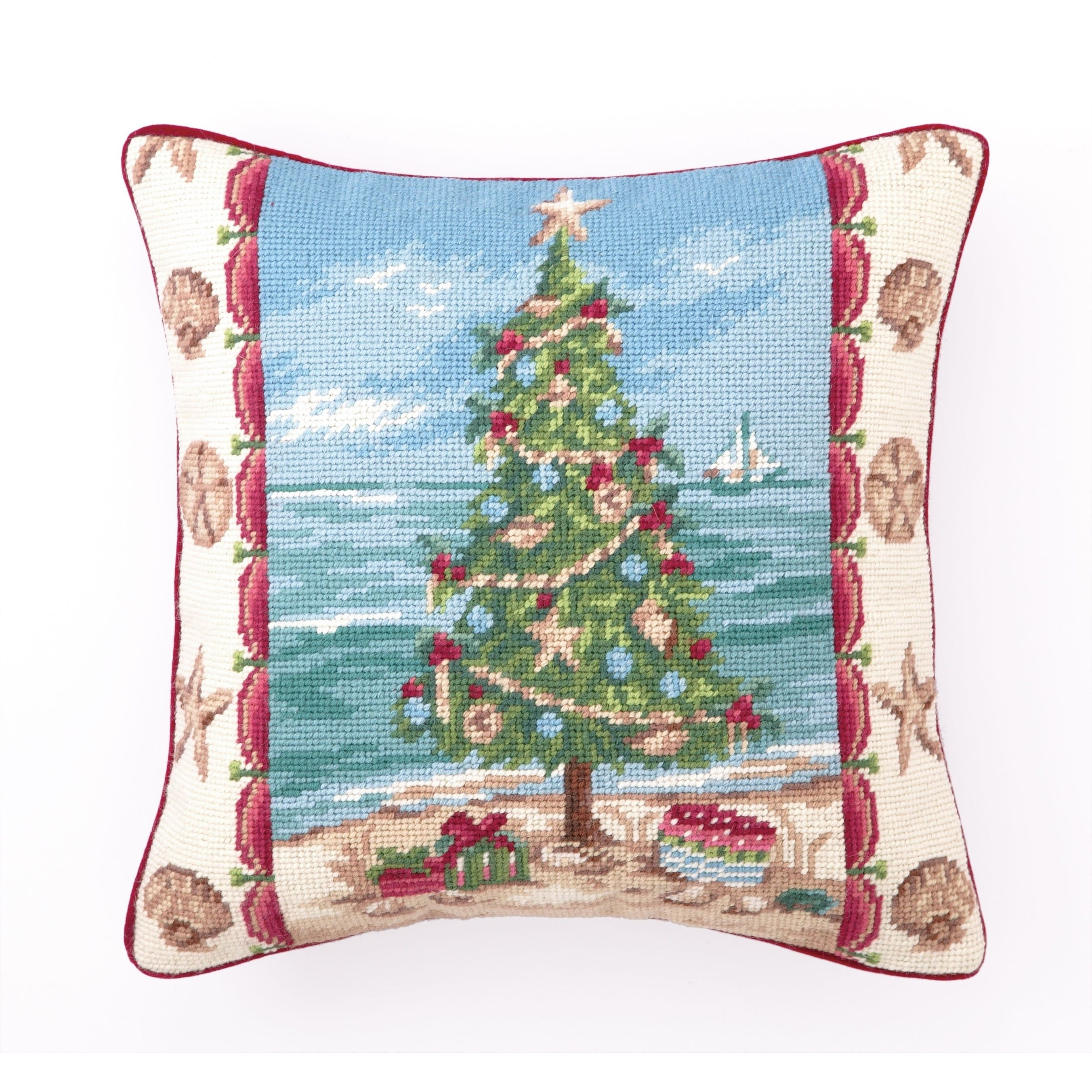 Kate McRostie Beach Christmas I Needlepoint Pillow   Products ...