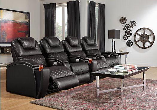 Picture Of Crescent Valley Black 4 Pc Power Reclining Sectional
