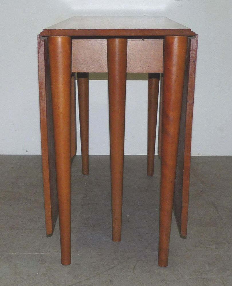 Mid century modern dining table with leaf - Vintage Conant Ball Drop Leaf Dining Table Mid Century Modern Russel Wright