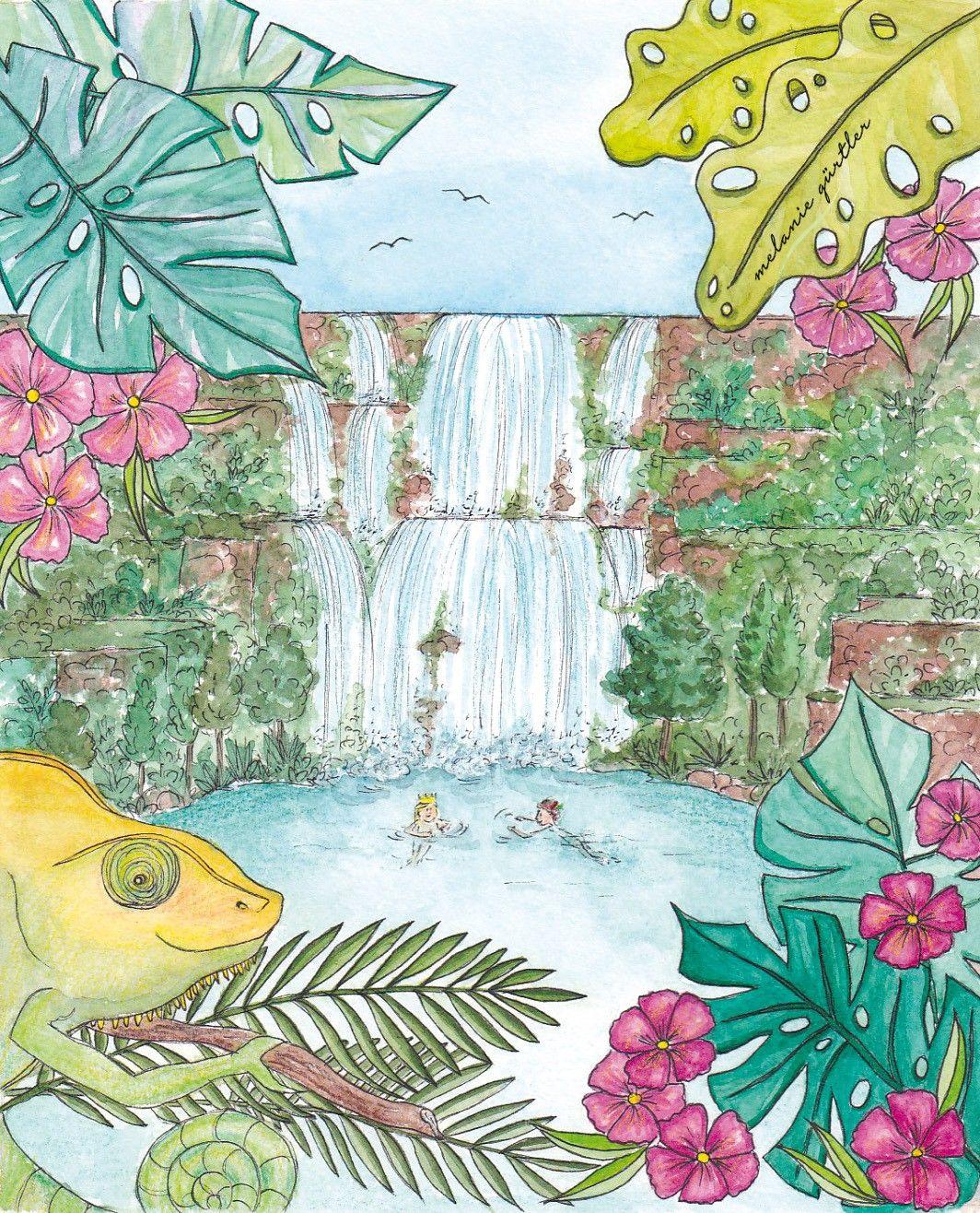 Kinderbuch Illustration Aquarell Tropischer Wasserfall