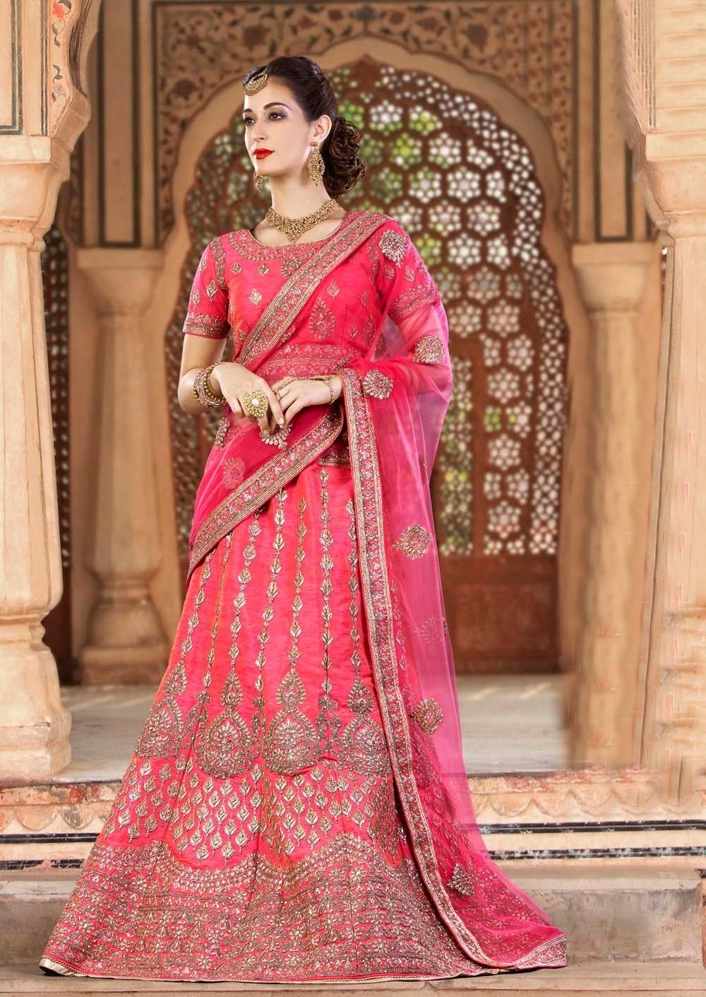 jaipuri lehenga choli with net dupatta for wedding new