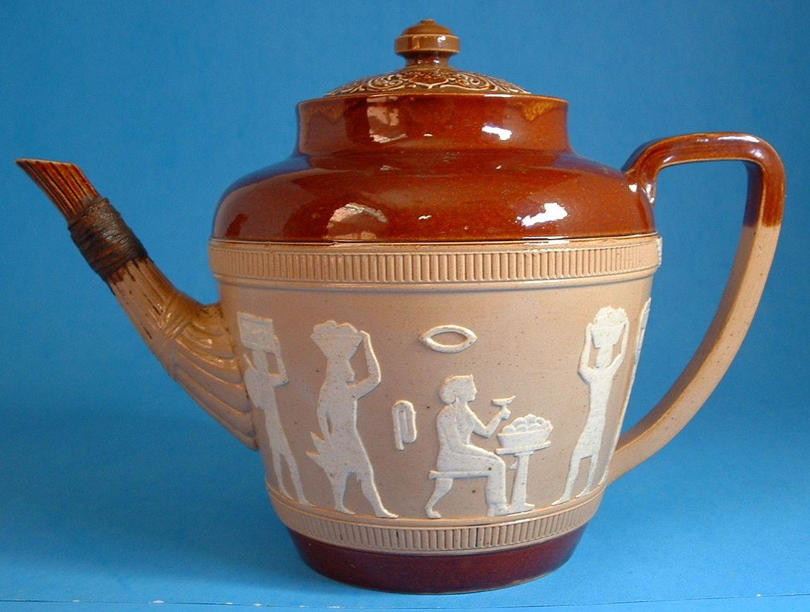 Egyptian Doulton Lambeth Teapot Antique England