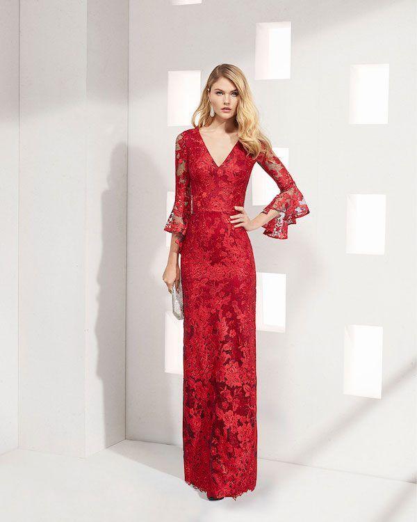 89e2c75ac catalogo-rosa-clara-2019-vestidos -de-coctel-largo-encaje-escote-v-manga-caracol-rojo