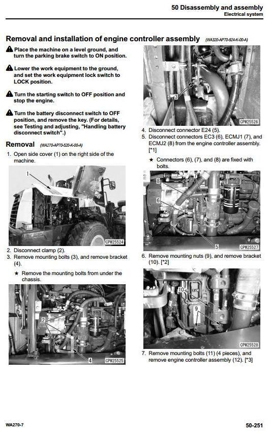 Komatsu Wheel Loader Wa270 7 Usa Sn A27001 And Up Workshop Service Manual Komatsu Manual Workshop