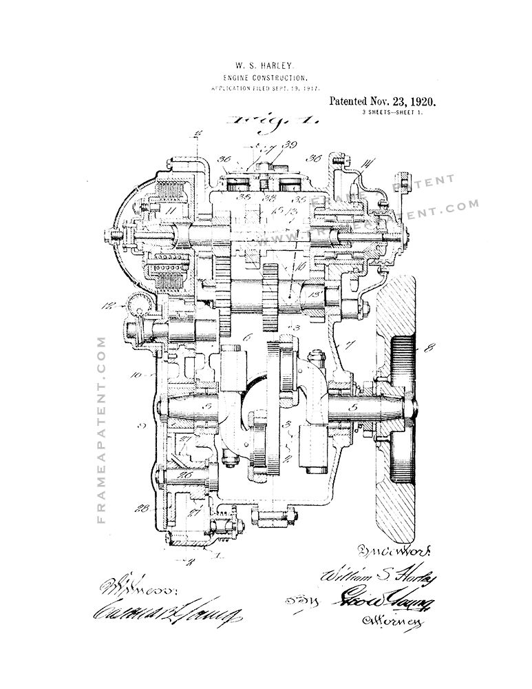 Harley Engine Construction Patent Print