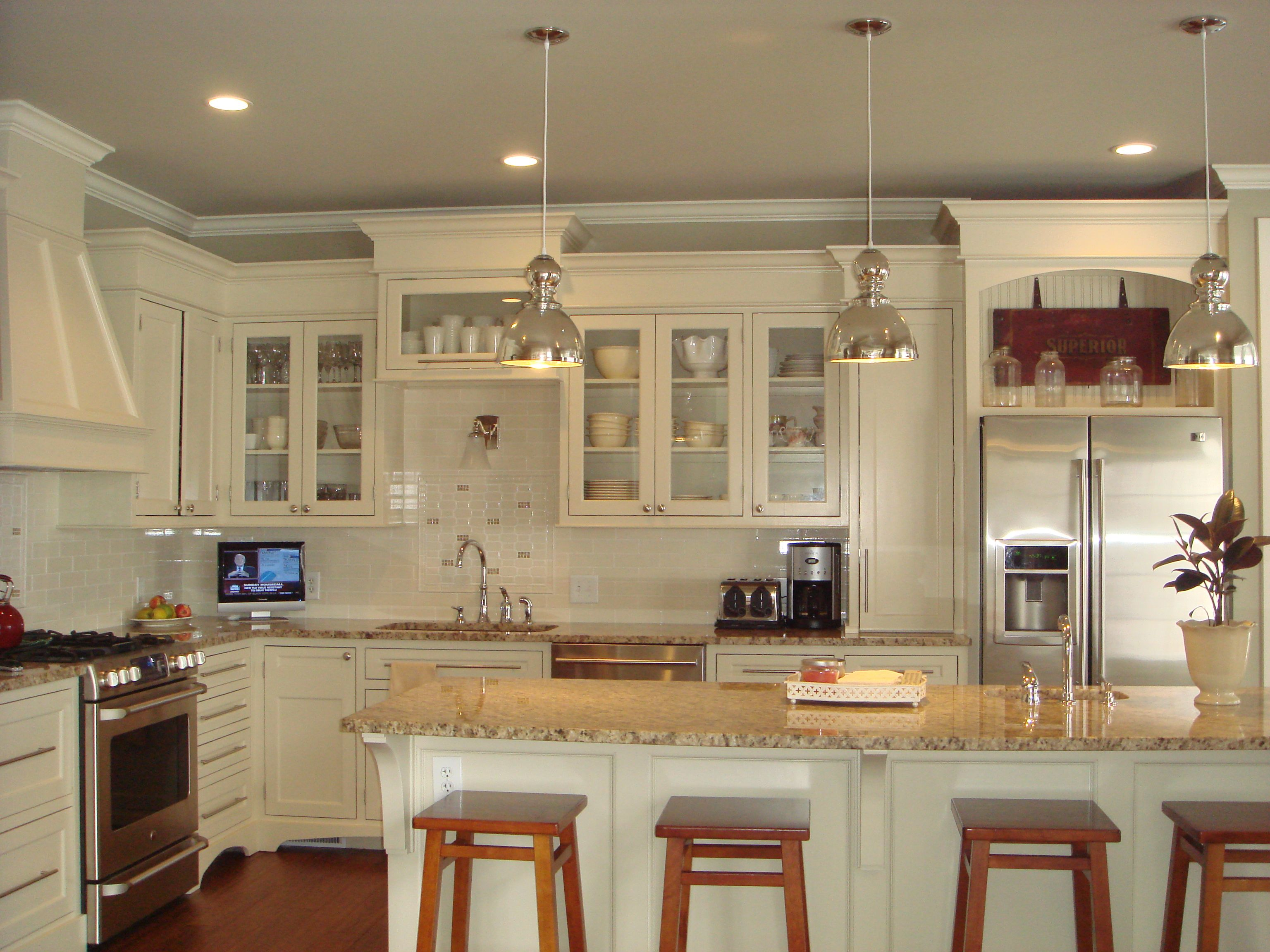 Want to repaint the cabinets white cream upgrade to for Pictures of white kitchen cabinets with granite countertops