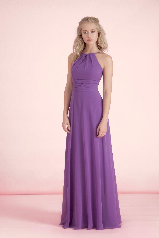 Purple A-line Chiffon Halter Bridesmaid Dresses With Low Back Plus ...