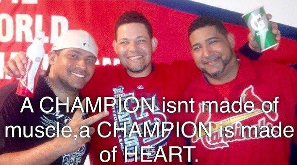 """Saturday n its beautiful☀️This one goes to everyone that loves any sports n have dreams,HEART!! Vamo arriba mi gente,Sabado lindo a todos! Esta es muy buena pa todos los que tienen suenos grandes en cualquier deporte.""""Un CAMPEON no es hecho de musculo,es hecho de PURO CORAZON"""" uuufff @mlb @mlbnetwork @espn @baseballhall @littleleague @puertorico @cheomolina @yadier_marciano_molina #godisgood #blessed #amen #thankful #bendecido #diosesbueno #molina @cardinals @angels @sfgiants @rangers"""