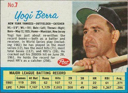1962 Post Cereal Yogi Berra 7 Baseball Card Value Price Guide Baseball Card Values Baseball Cards Baseball