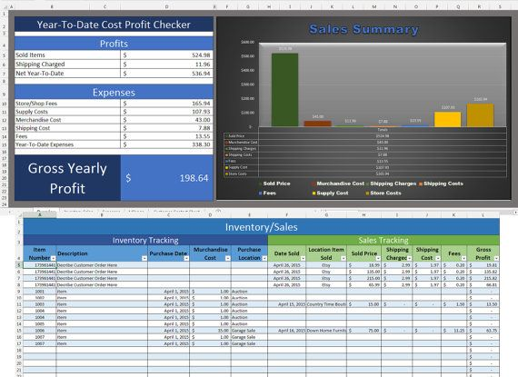Etsy Excel Business Invetory Sales Cost by GraphicalSolutions