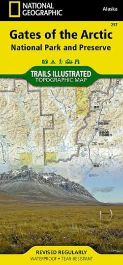 This Trails Illustrated folded map offers concise  comprehensive coverage of the Gates of the Arctic National Park and Preserve Trail areas in Alaska.