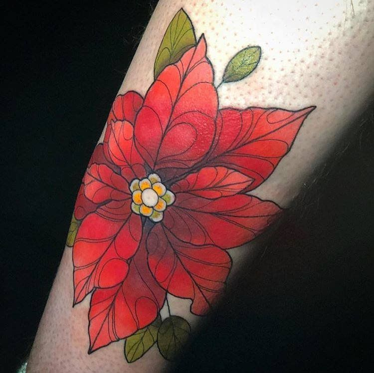 Poinsettia Tattoo December Birth Flower Birth Flower Tattoos Floral Tattoo Sleeve December Flower Tattoo