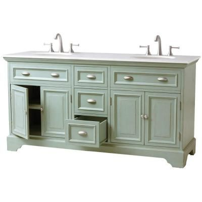 Home decorators collection sadie 67 in double vanity in antique blue with marble vanity top in white with white basin