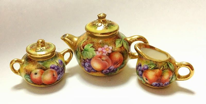 Reproductions in miniature of beautiful French Sevres porcelain tea sets. Inspired by the Wallace Collection, a National Museum in London, England.