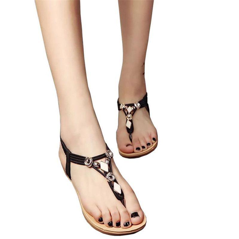Women Beaded Bohemia Leisure Casual Sandal Flat Lady Peep-Toe Flip Flops Shoes