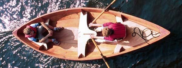 Looking down on a Skerry rowing boat