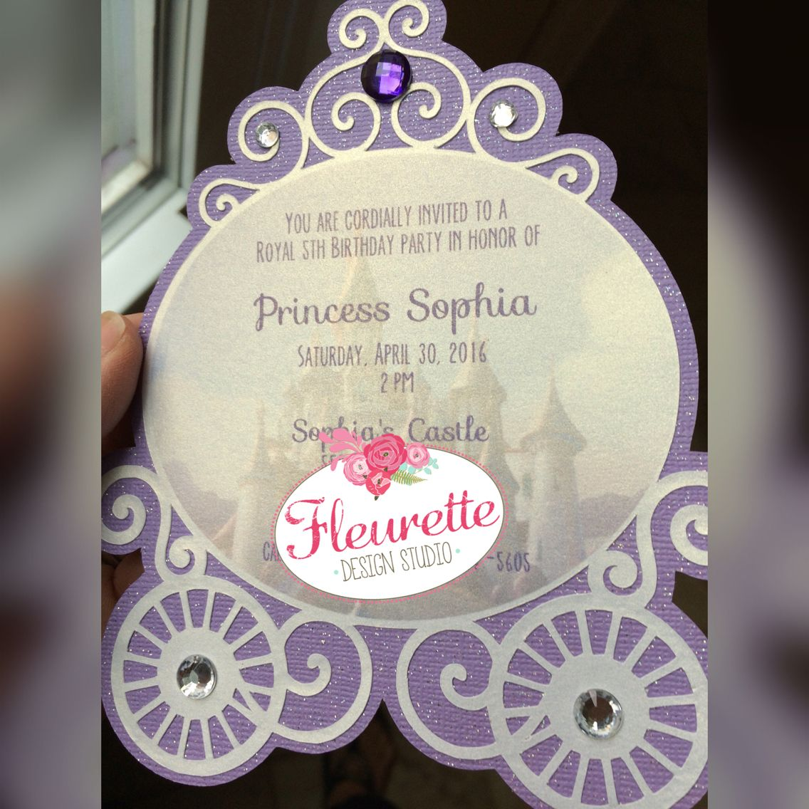 Princess invitation, handmade, carriage, purple party. Sofia the ...