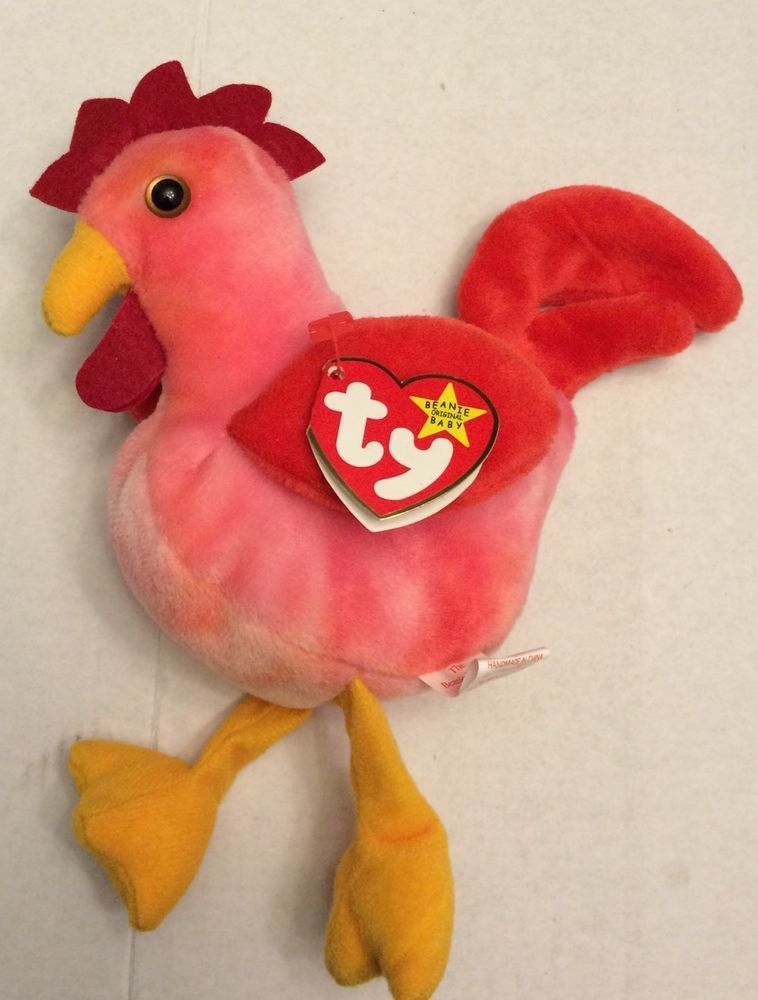 e93f6d1bbdf New Ty Beanie Babies Strut The Rooster with Hang Tag 1996 PE Pellets Retired