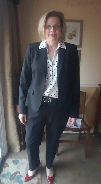 Outfit 20 black suit, polka dot shirt, black belt, red