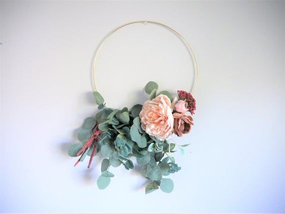 Photo of Lush Eucalyptus Wreath | 14 Inch Hoop | Eucalyptus Wall Hanging | Flower Hoop Wreath | Mauve, Blush,