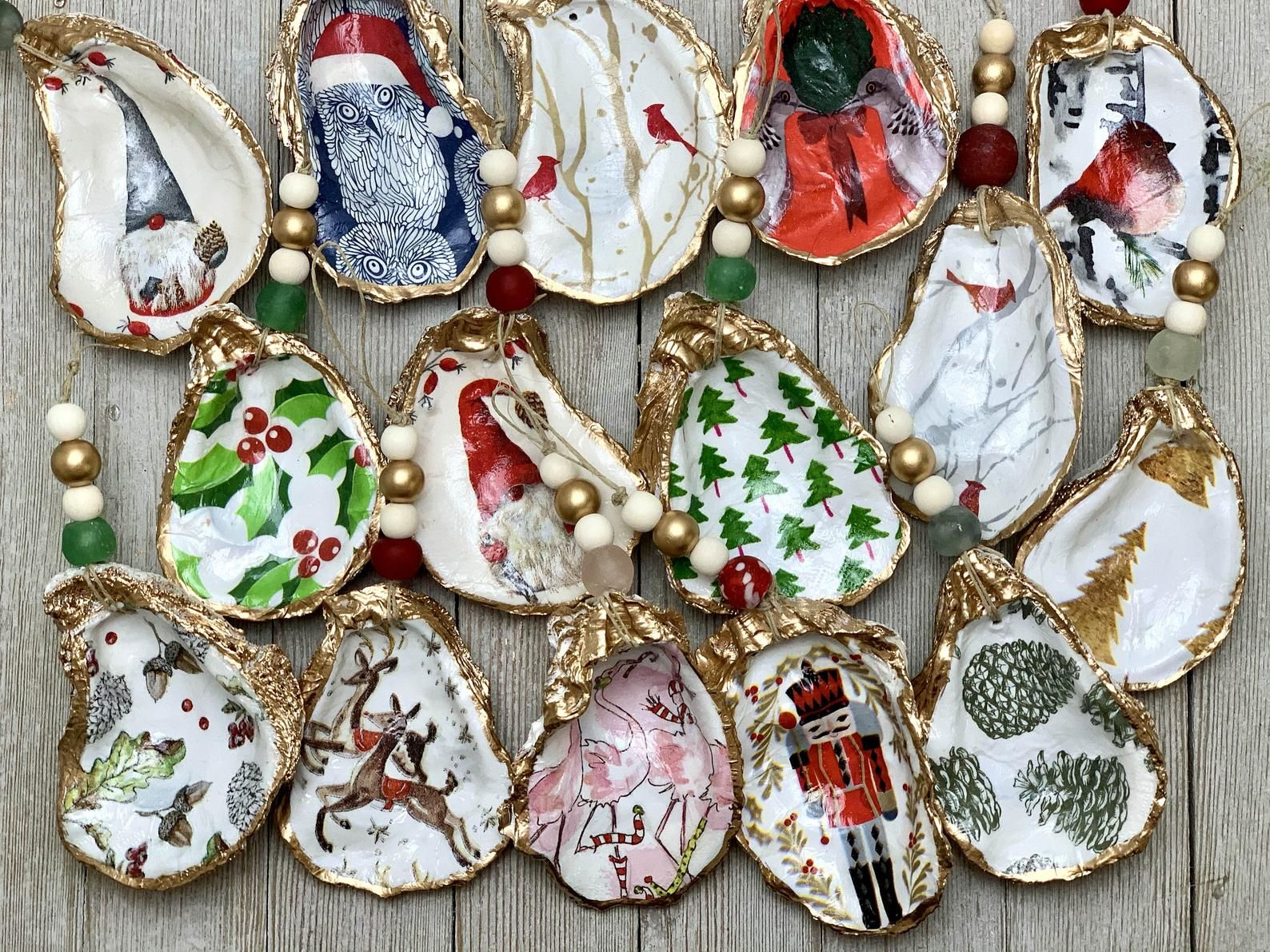 Decoupage Oyster Ornament Etsy Oyster Ornament Oyster Shell Crafts Shell Crafts Diy