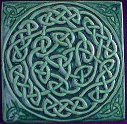 ceramic arts and crafts tile celtic knot; craftsman bungalow