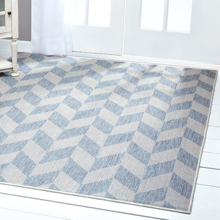 Geometric Blue/Gray Indoor/Outdoor Area Rug Indoor