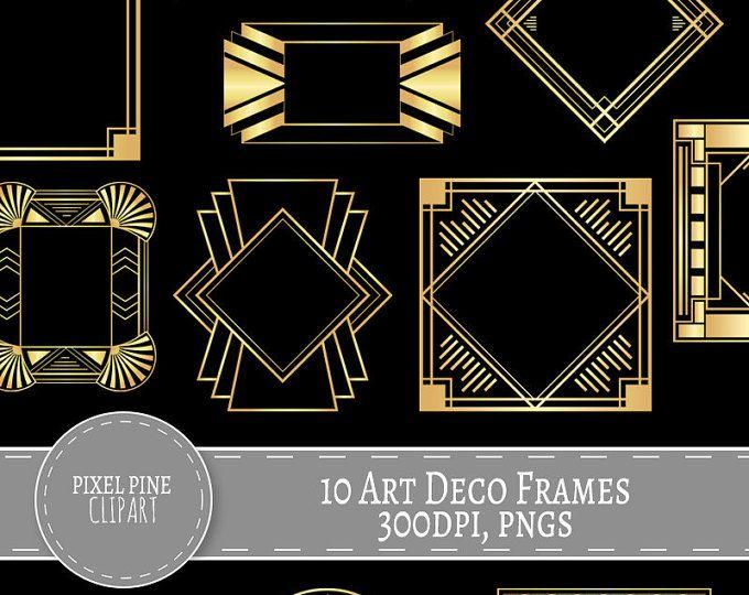 Gold Art Deco Frame Clip Art Art Deco Frames Design Elements Etsy In 2021 Art Deco Art Deco Borders Gold Art Deco
