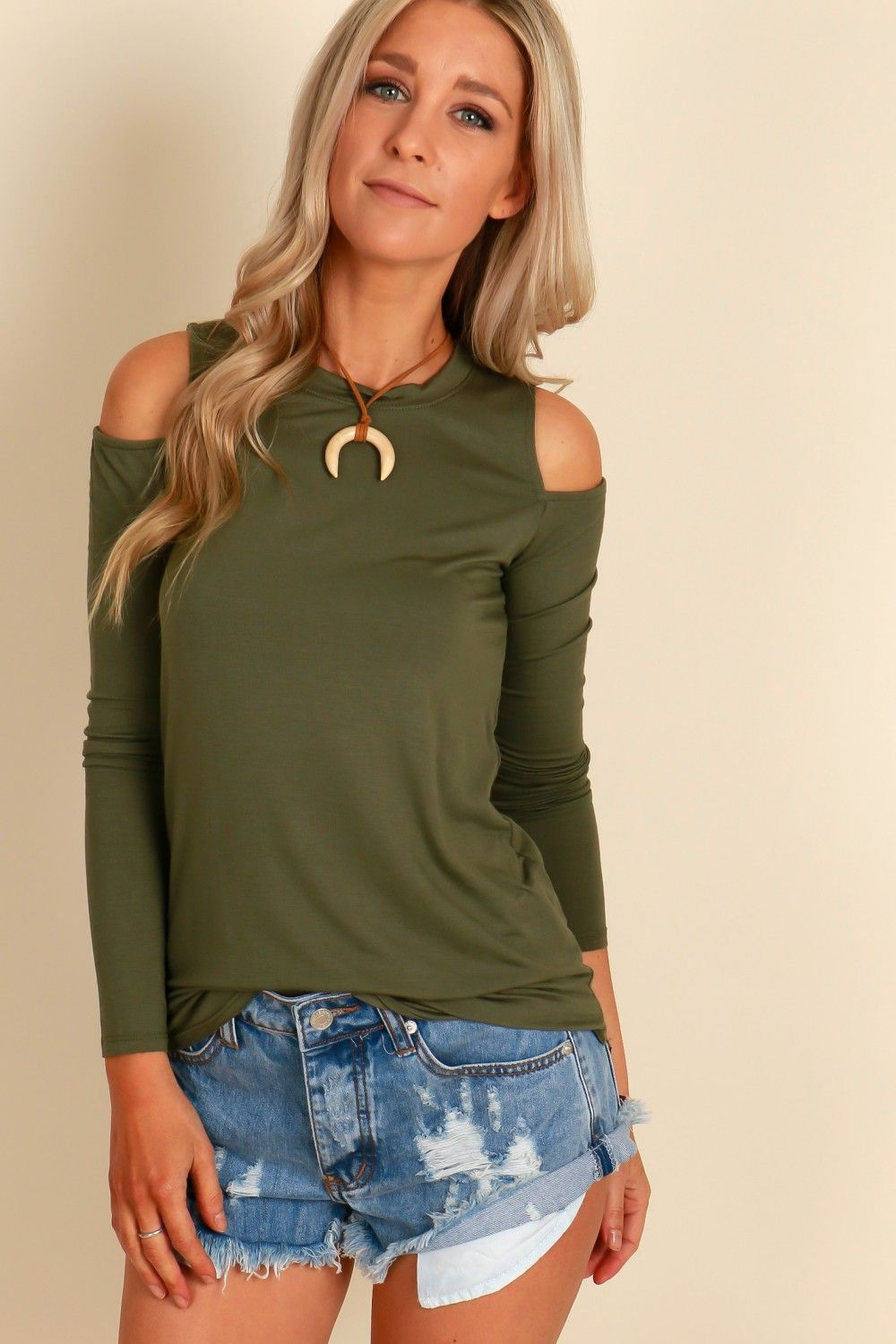 d6b524348db047 Gimme The Cold Shoulder Top Olive