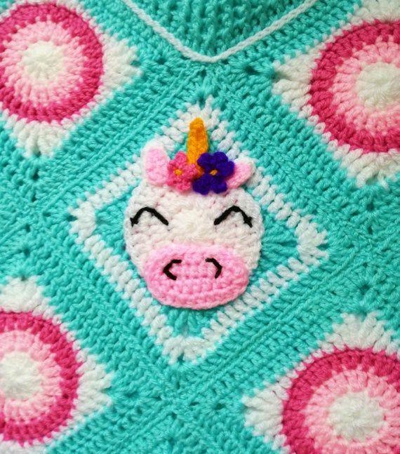 Girl's Unicorn Poncho. 6-9 years. Turquoise Unicorn crochet poncho. Kid's unicorn poncho. Girl's jum #crochetponchokids