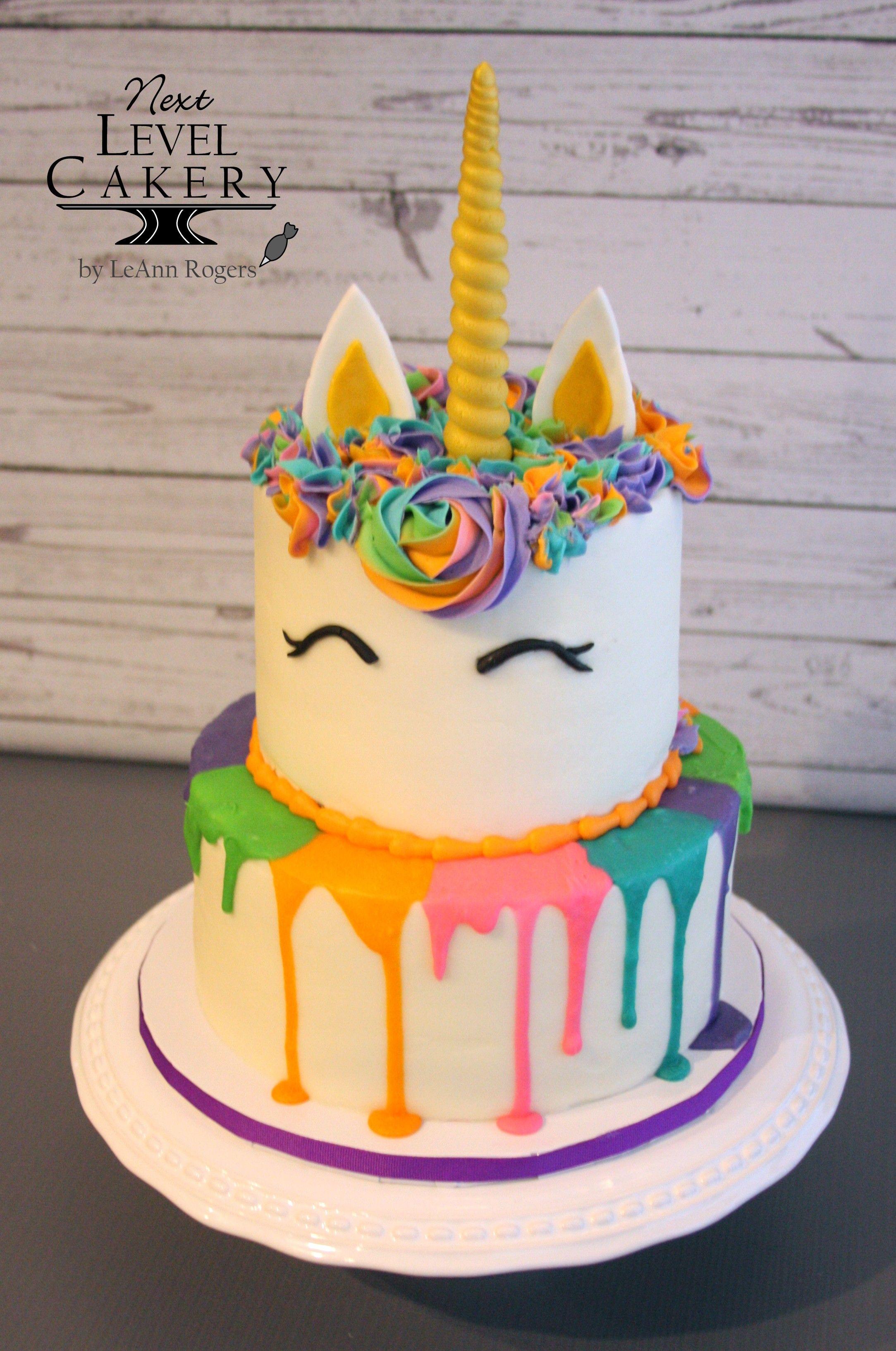 Rainbow Unicorn 2 Tiered Cake White Chocolate Ganache Drip Cake