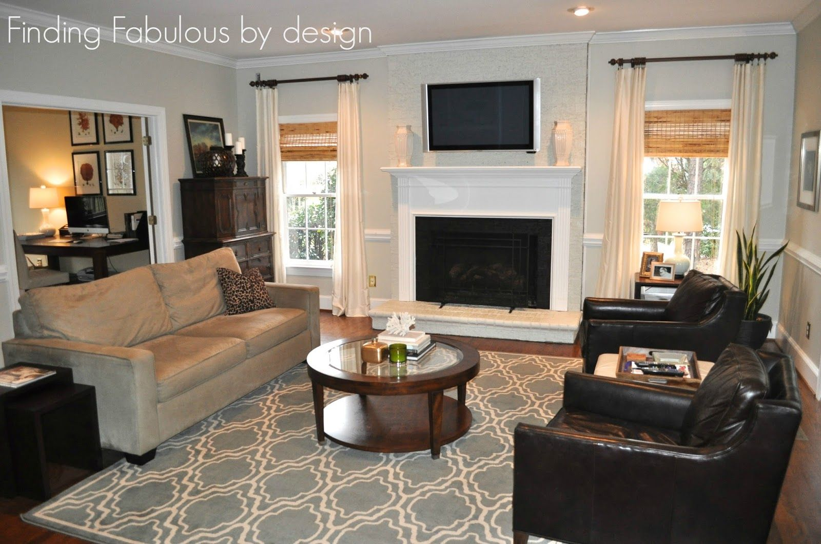 Painted Fireplace Family Room Makeover Gray Walls Sw Useful Gray 7050 Living Room Grey Grey Dining Room Living Room Decor Gray