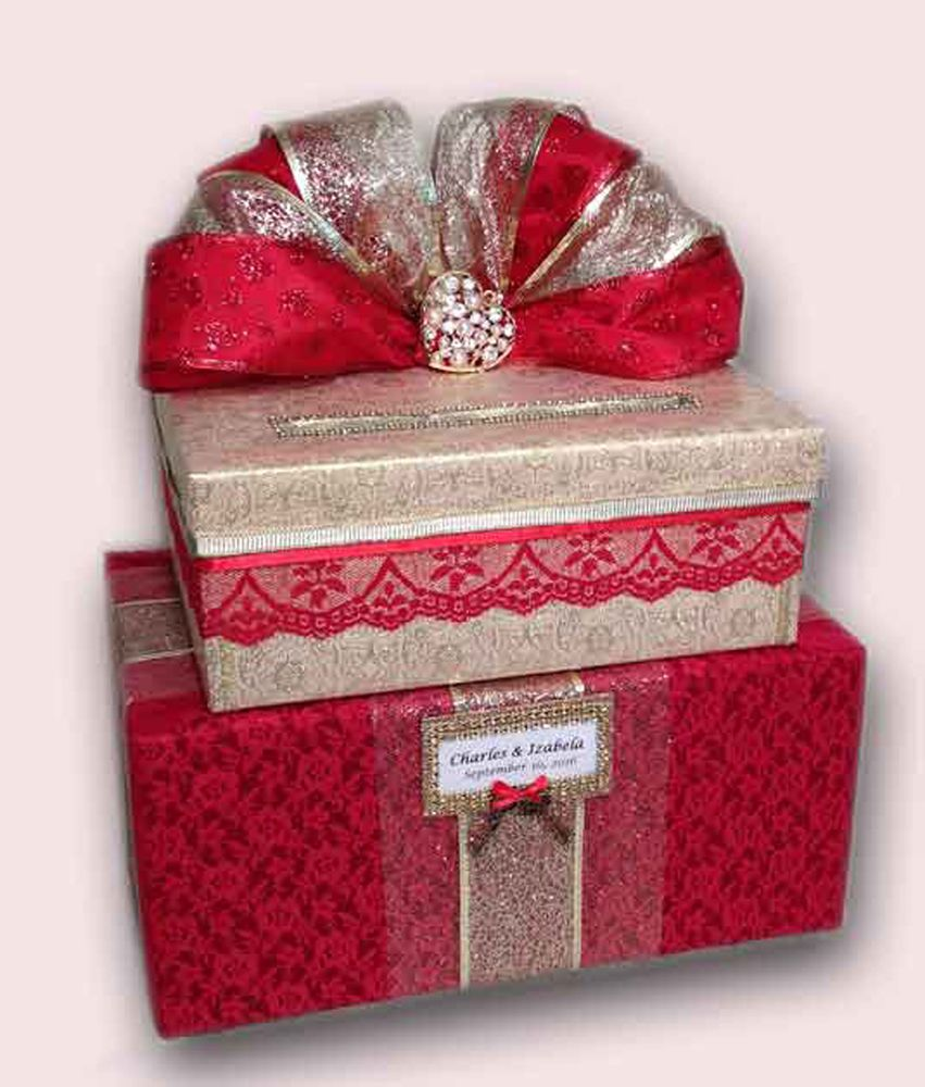 Wedding Card Box,Red,Gold,unique,Handmade,Cake,Fabric,Card Holder ...