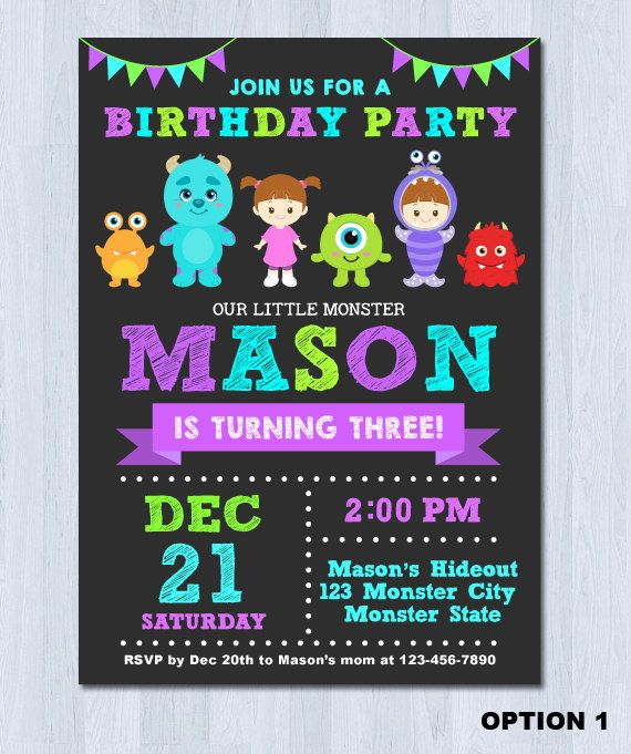 Monsters Inc Invitation Monster Inc Invitation Monster Invitation