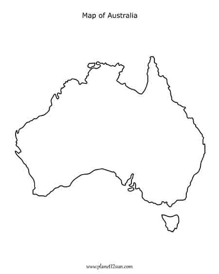 Free printable black & white worksheet Map of Australia
