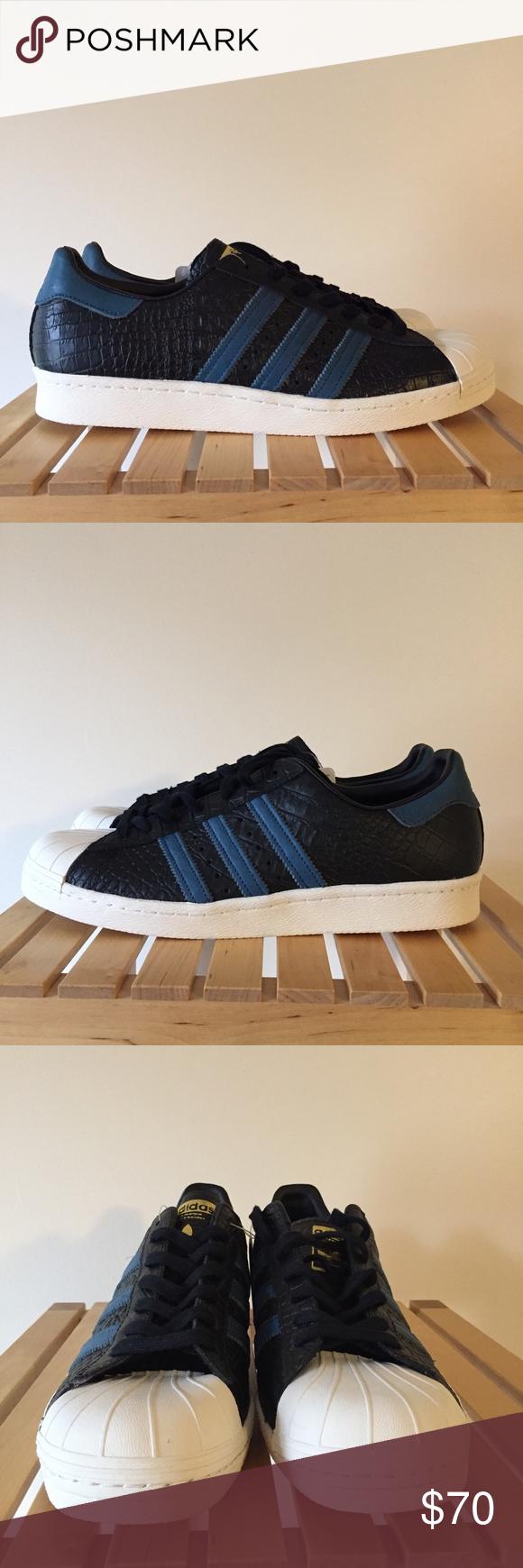 low cost c904e f04fd Adidas Superstar 80's BB2228 Core Black Blue NEW Brand new ...
