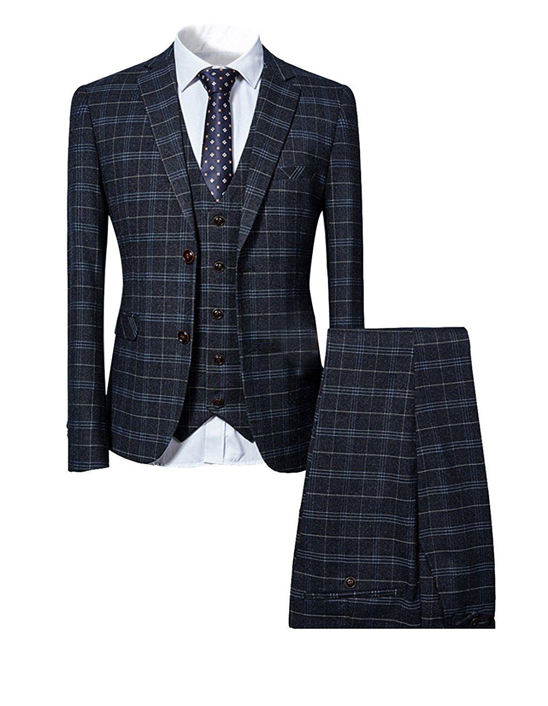 Costume homme à carreau deux boutons d affaire mariage slim fit trois  pièces - Noir - Medium  Amazon.fr  Vêtements et accessoires 97ef503791e