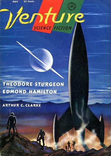 Venture Science Fiction Magazine, May 1958, cover by Morris Scott Dollens.