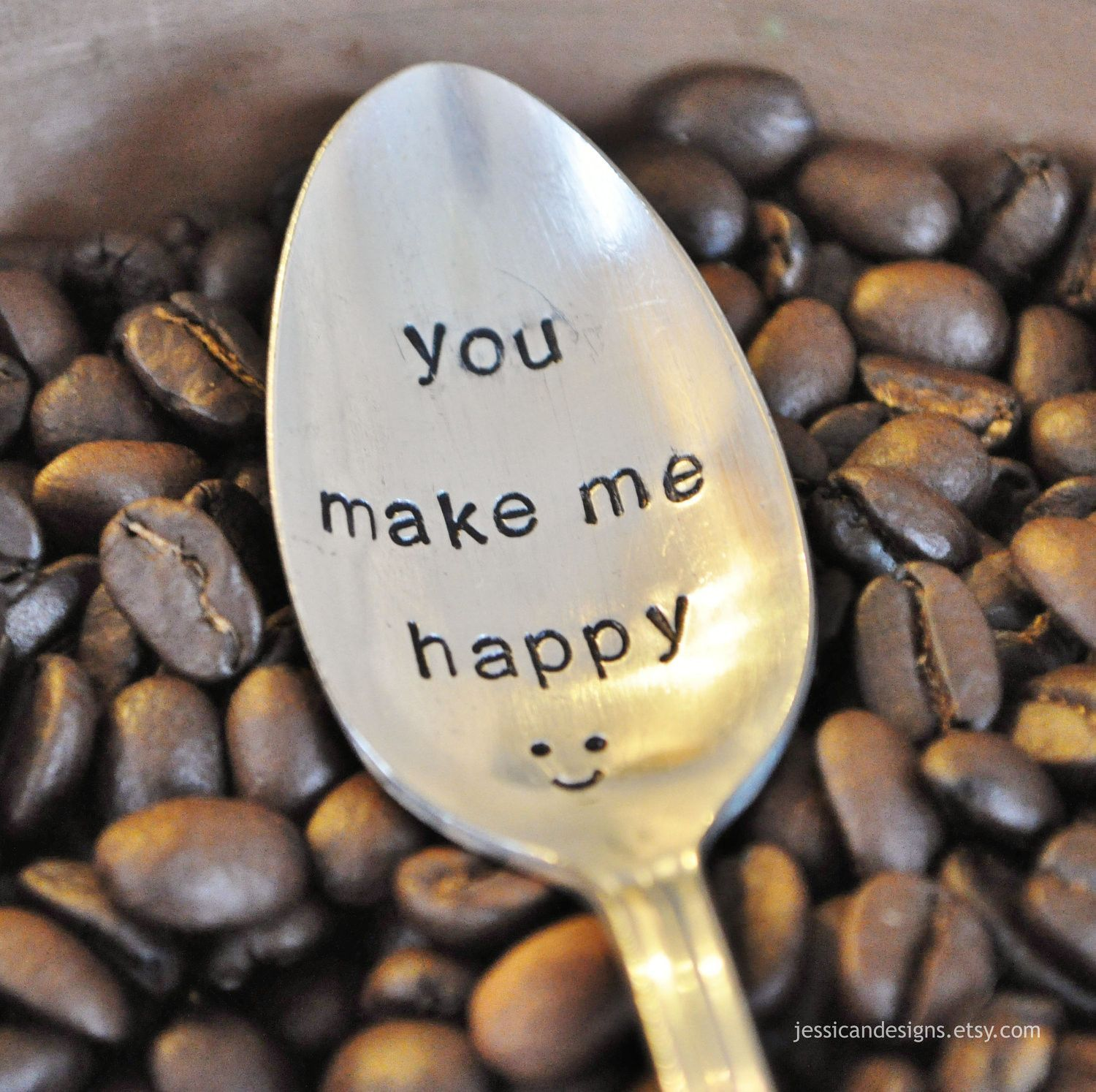 You Make Me Happy Hand Stamped Vintage Coffee Spoon