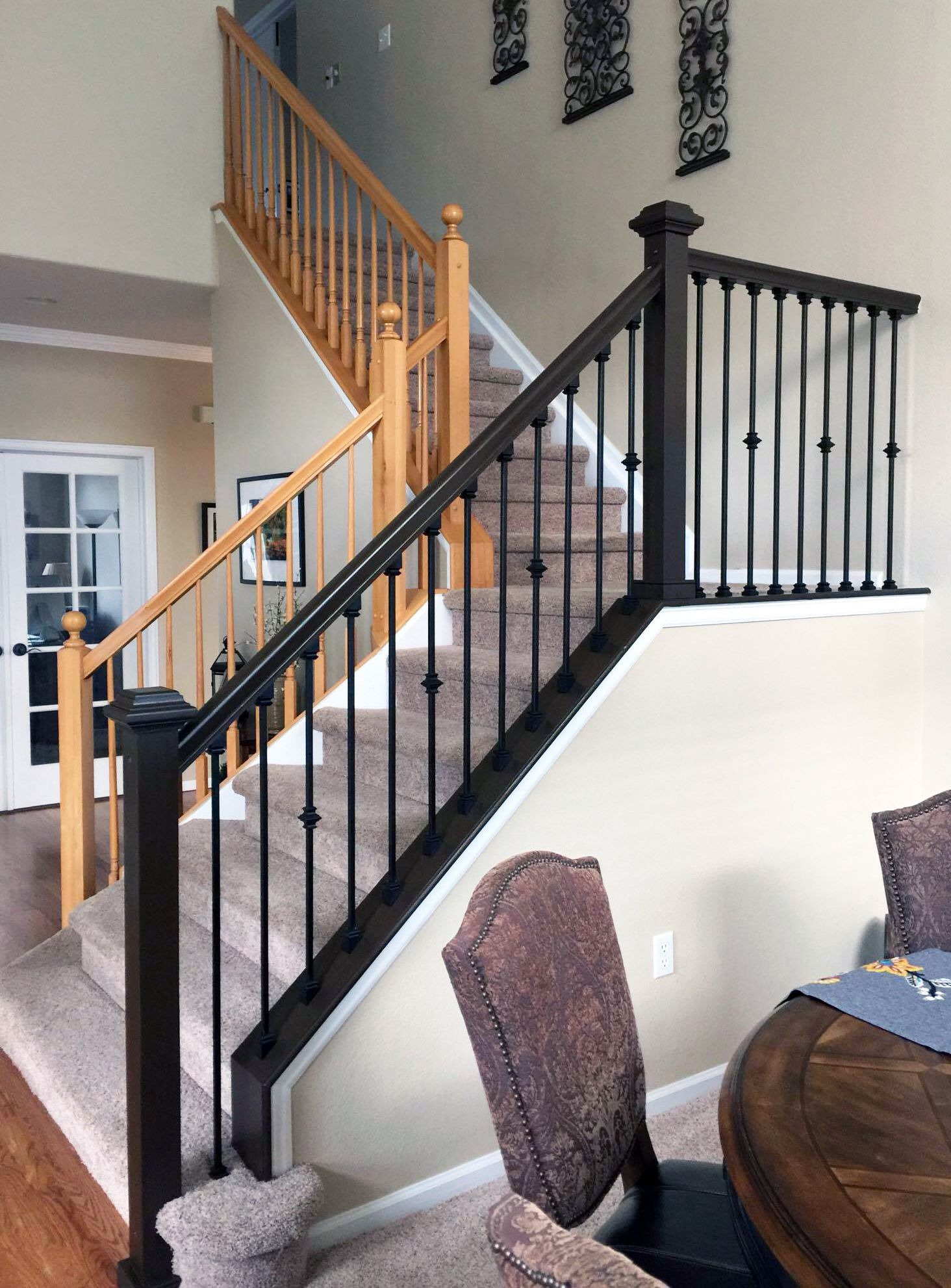 Antique Walnut Gel Stained Stairs   Interior stair railing ...