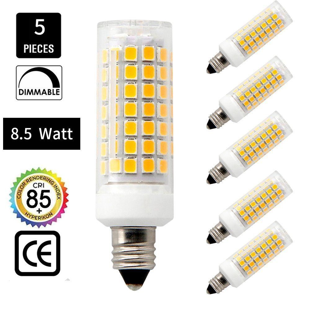E11 Led Bulb 75w Or 100w Halogen Bulbs Replacement850 Lumens Jd E11 Mini Candelabra Base 110v 120v 130v Voltage Input Warm White 30 In 2020 Led Bulb Halogen Bulbs Bulb