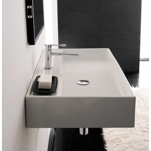 Teorema Ceramic 24 Quot Wall Mount Bathroom Sink With Overflow